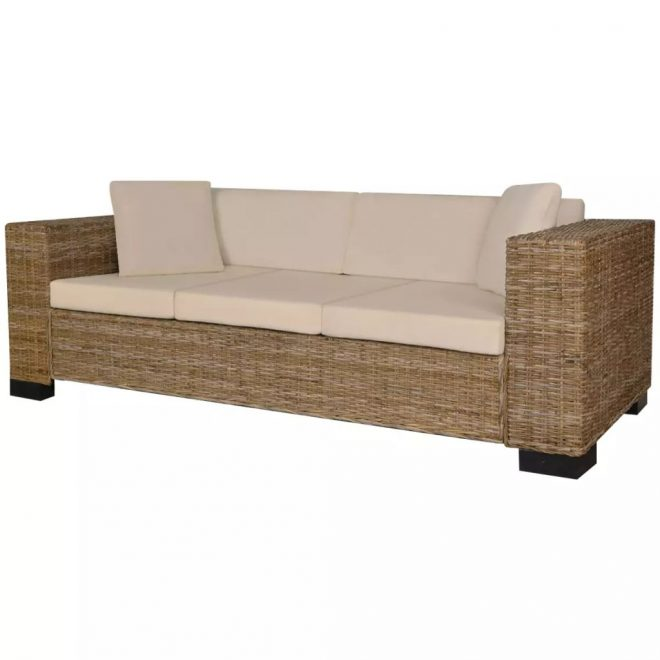 Eight Piece 3-Seater Sofa Set Real Rattan 1