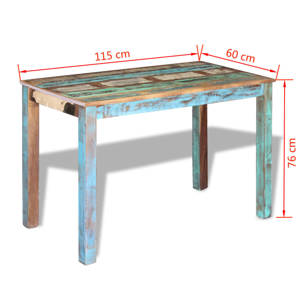 Dining Table Solid Reclaimed Wood 115x60x76 cm 8