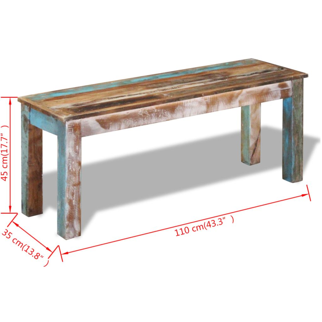 Bench Solid Reclaimed Wood 110x35x45 cm 8