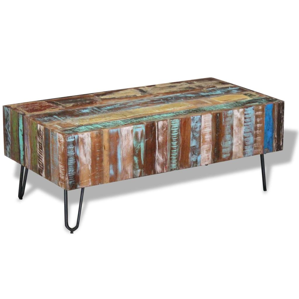 Coffee Table Solid Reclaimed Wood 100x50x38 cm 1