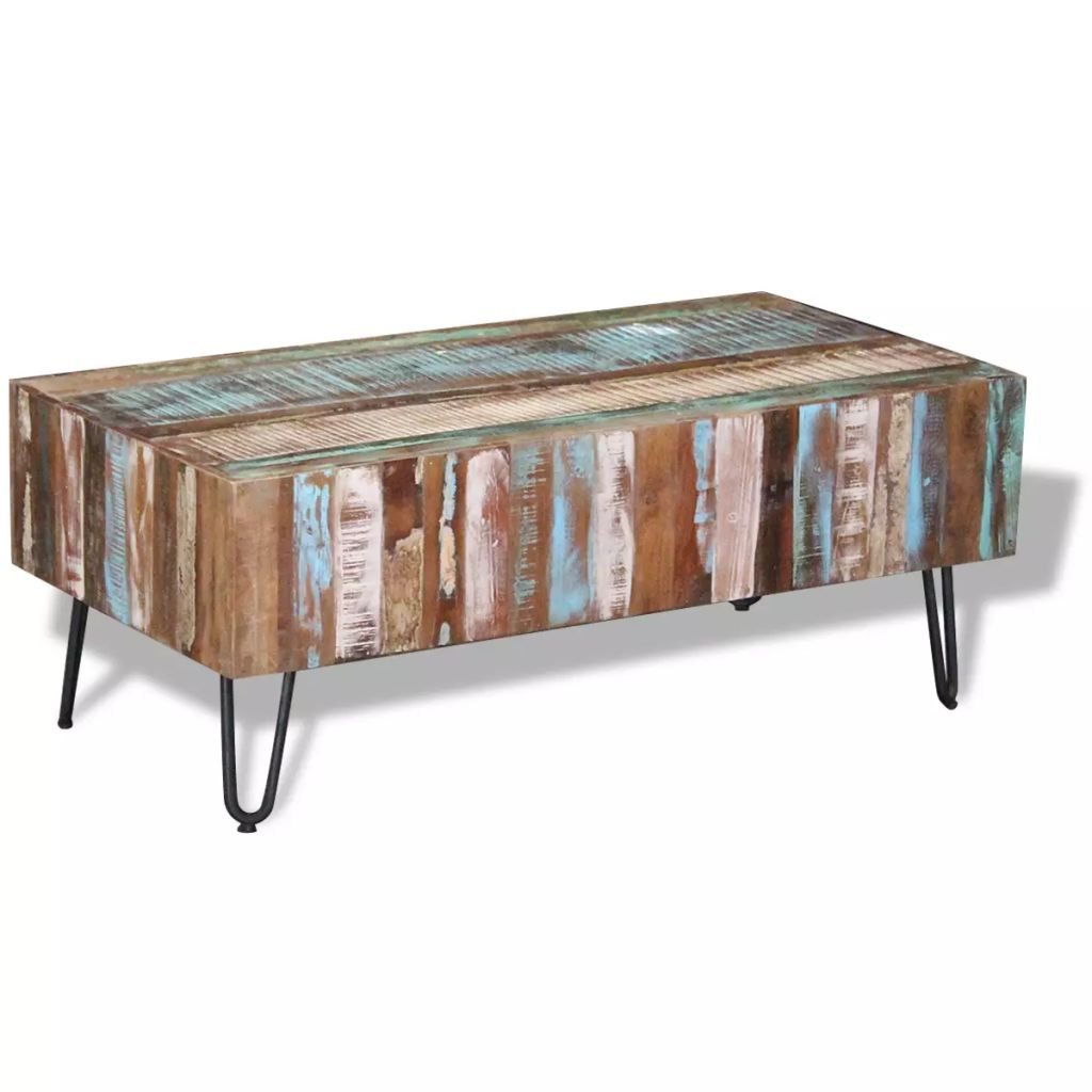 Coffee Table Solid Reclaimed Wood 100x50x38 cm 2