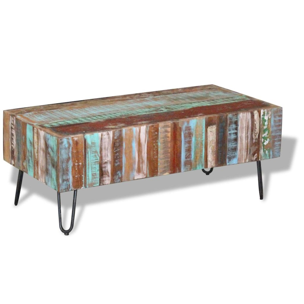 Coffee Table Solid Reclaimed Wood 100x50x38 cm 3