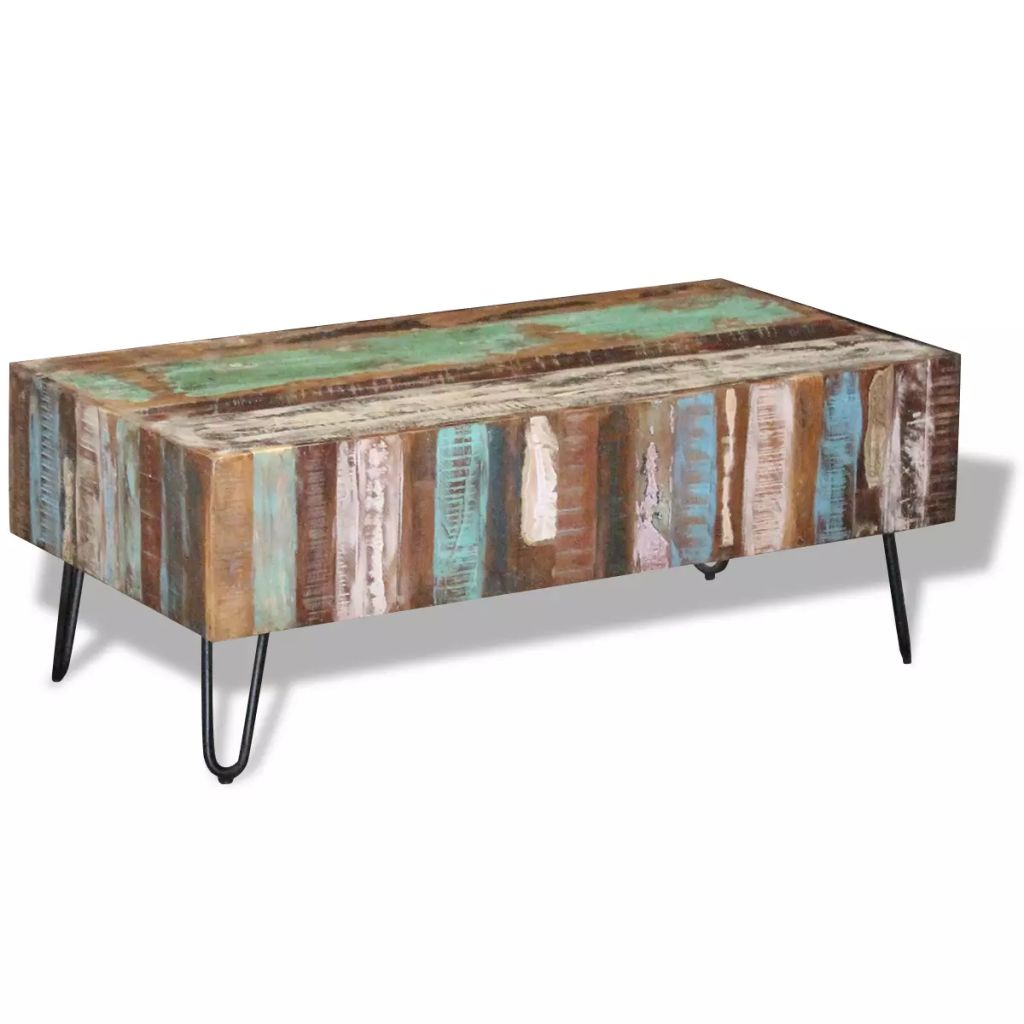 Coffee Table Solid Reclaimed Wood 100x50x38 cm 4