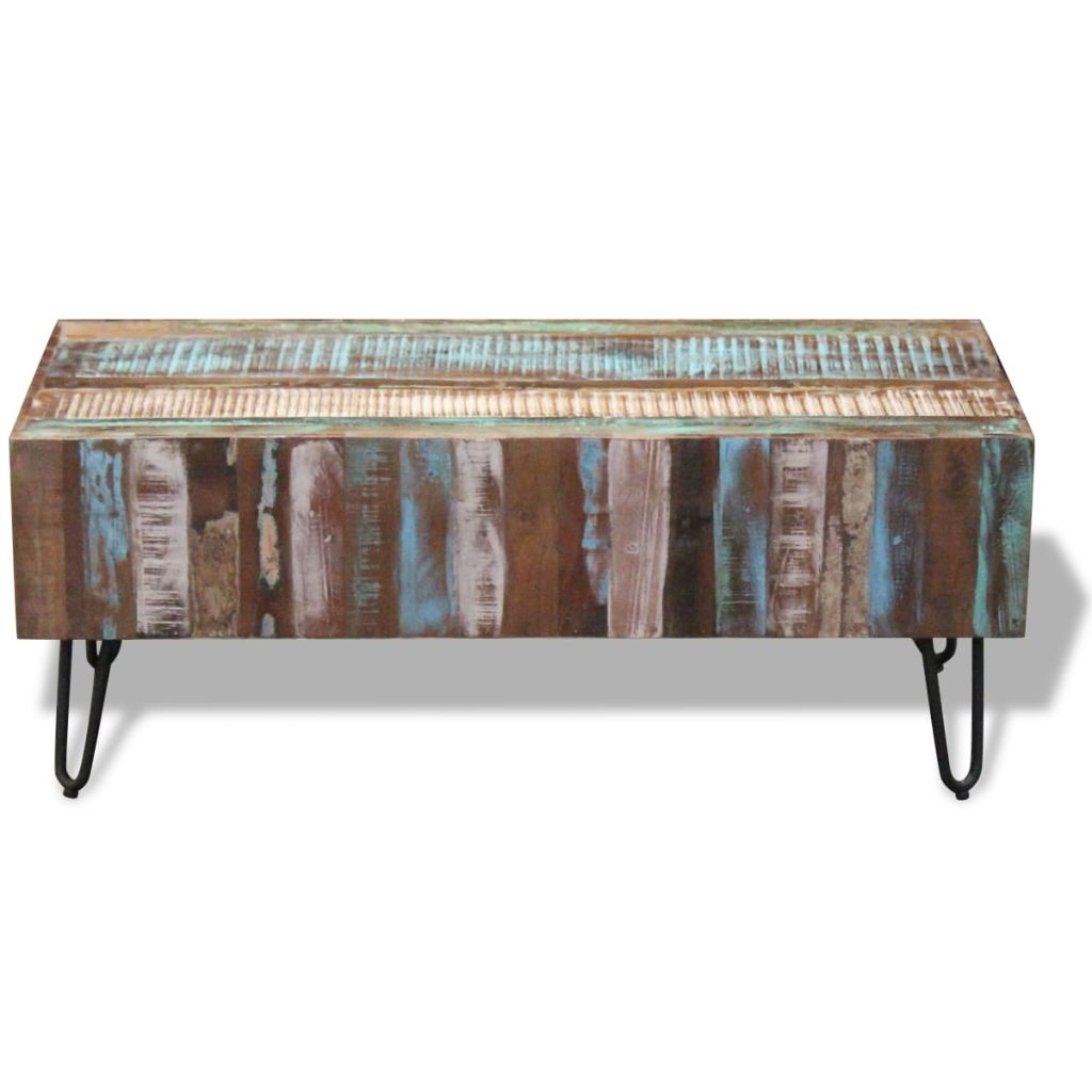 Coffee Table Solid Reclaimed Wood 100x50x38 cm 6