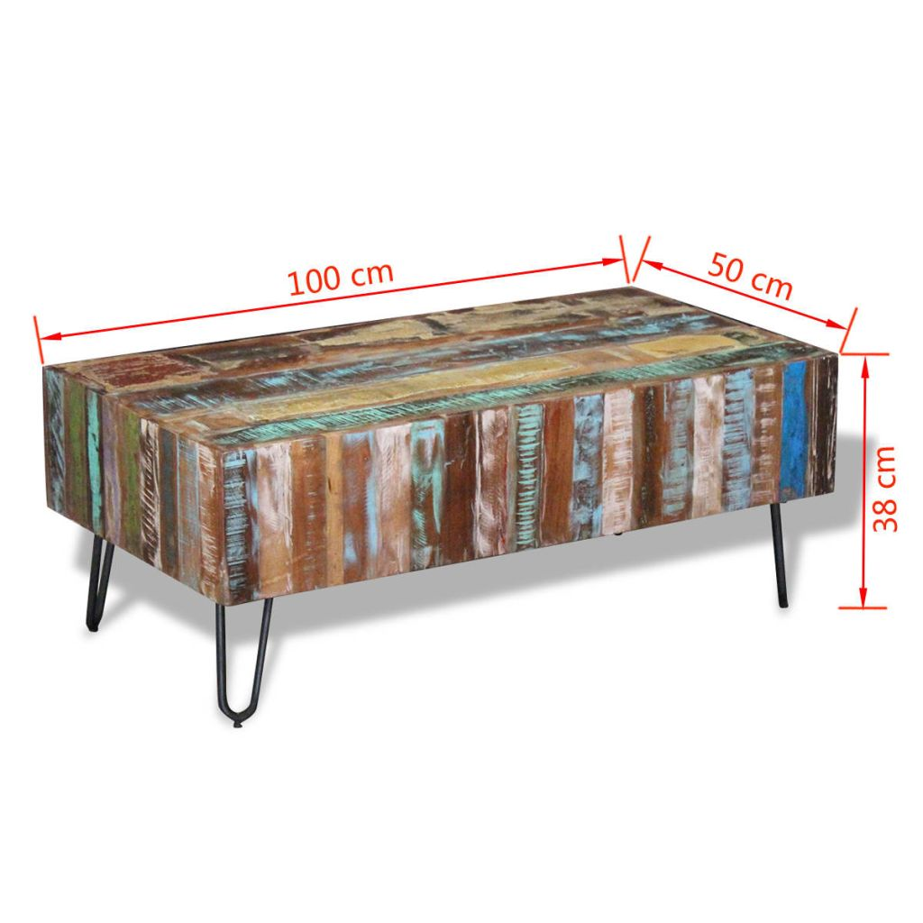 Coffee Table Solid Reclaimed Wood 100x50x38 cm 8