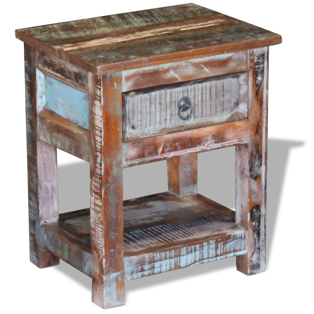 Side Table with 1 Drawer Solid Reclaimed Wood 43x33x51 cm 1