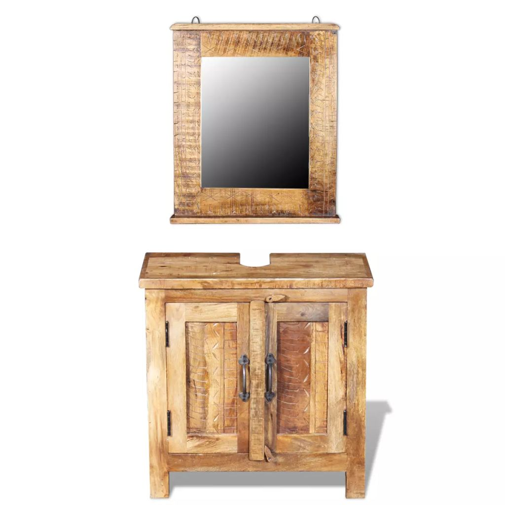 Bathroom Vanity Cabinet with Mirror Solid Mango Wood 1