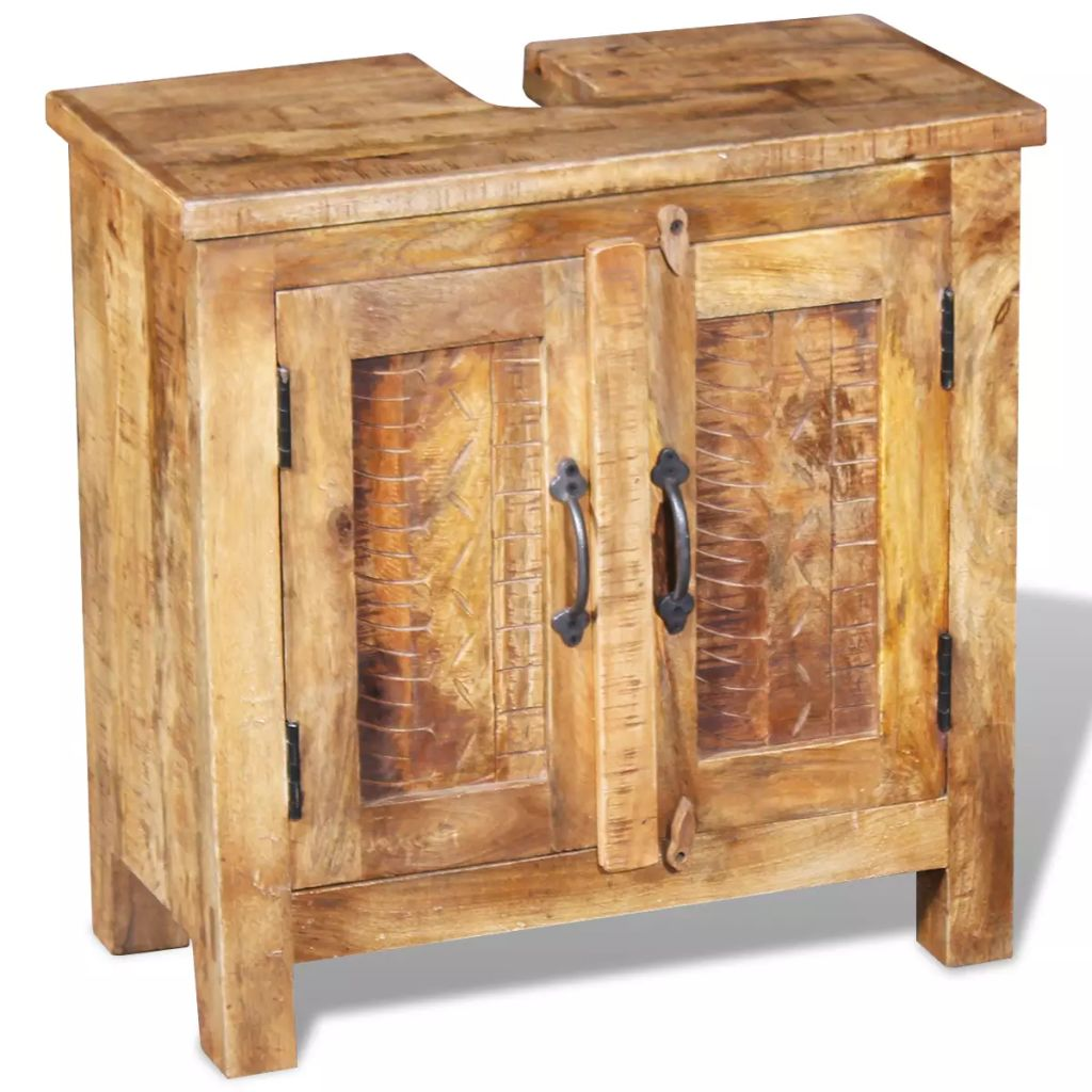 Bathroom Vanity Cabinet with Mirror Solid Mango Wood 5