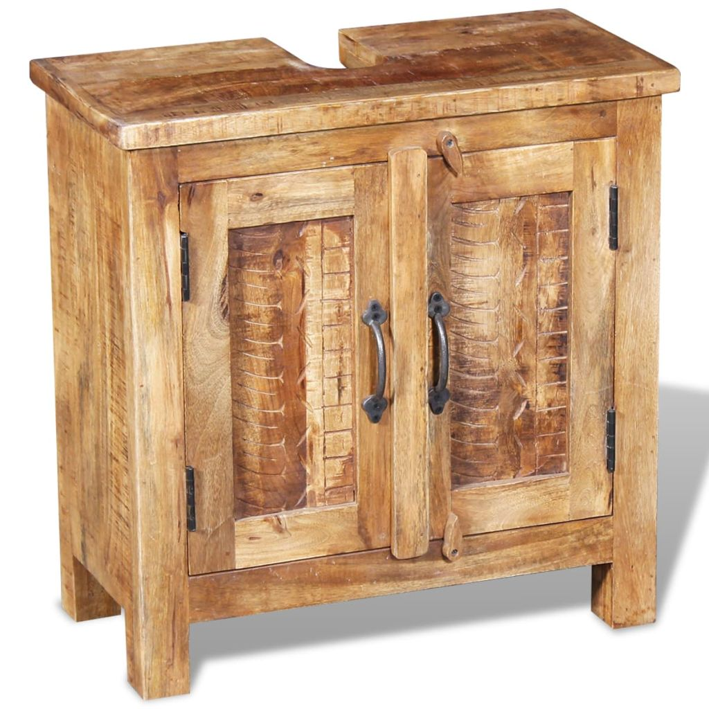Bathroom Vanity Cabinet with Mirror Solid Mango Wood 6