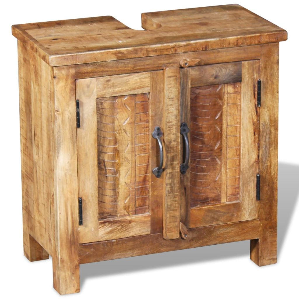 Bathroom Vanity Cabinet with Mirror Solid Mango Wood 7