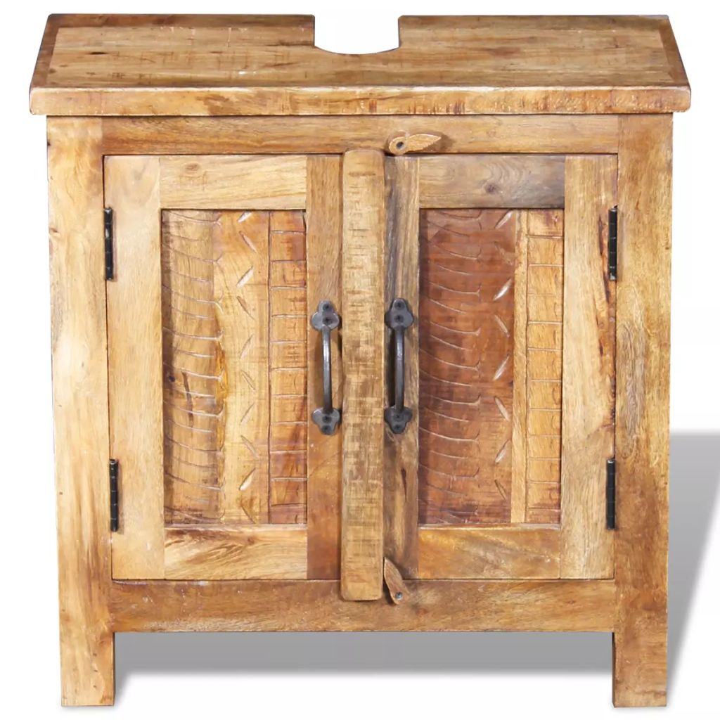 Bathroom Vanity Cabinet with Mirror Solid Mango Wood 9