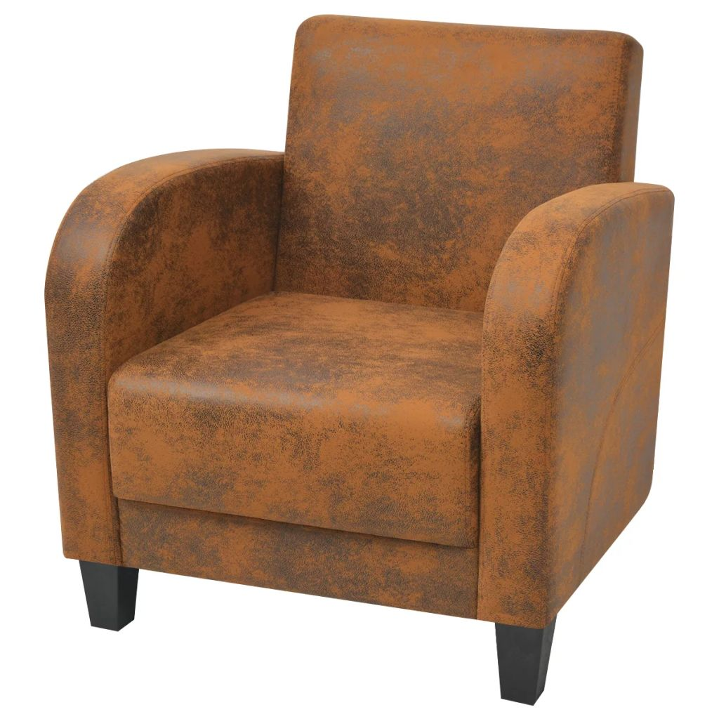 Armchair Brown Faux Suede Leather 1
