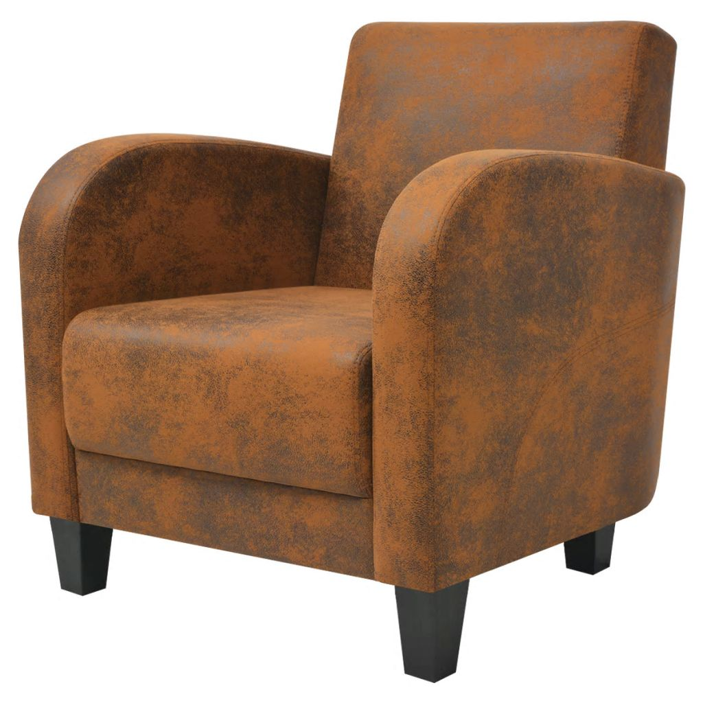 Armchair Brown Faux Suede Leather 2