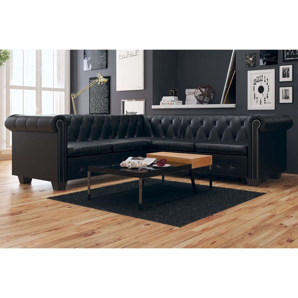 Chesterfield Corner Sofa 5-Seater Artificial Leather Black 1
