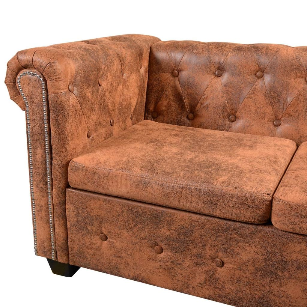 Chesterfield Corner Sofa 5-Seater Artificial Leather Brown 6