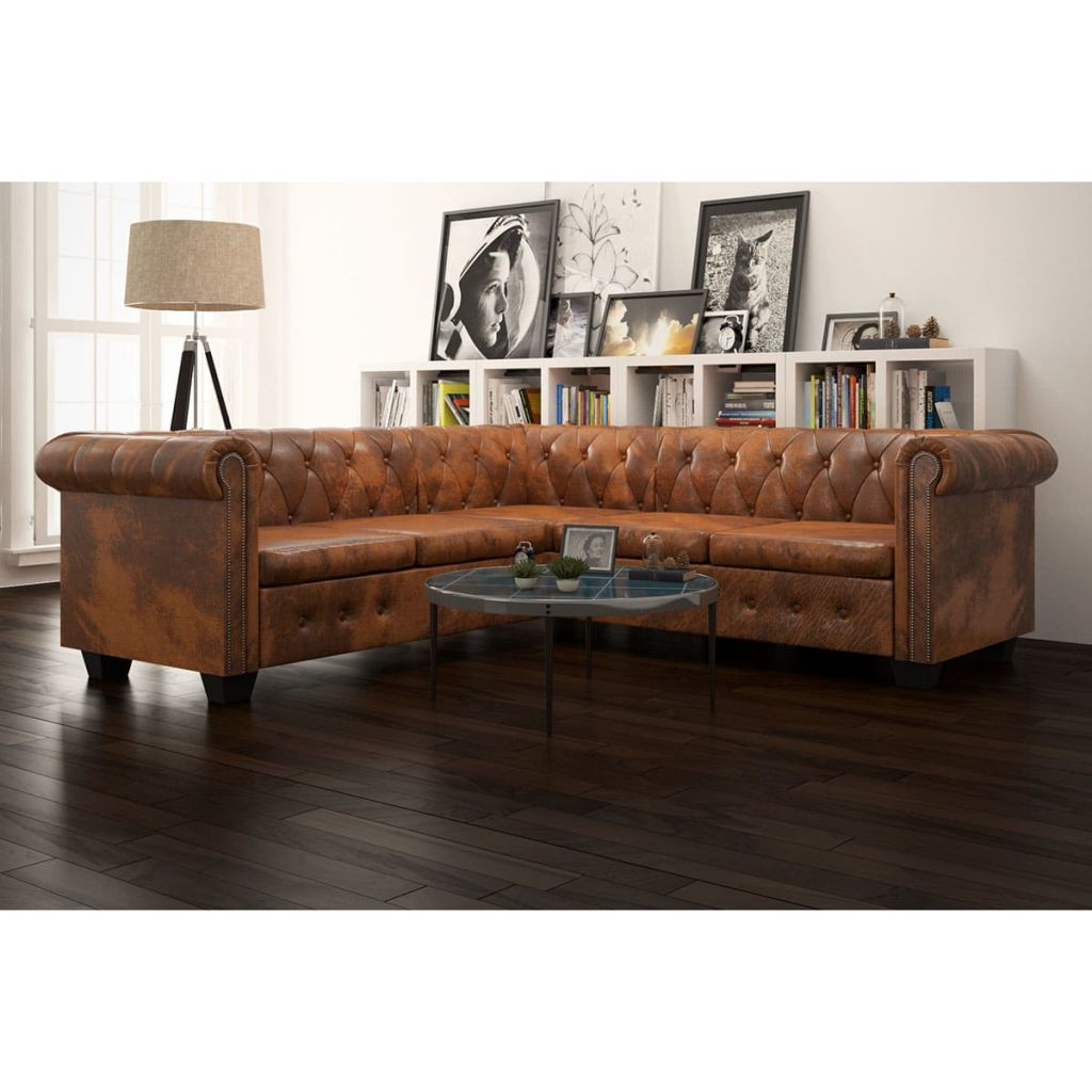 Chesterfield Corner Sofa 5-Seater Artificial Leather Brown 1
