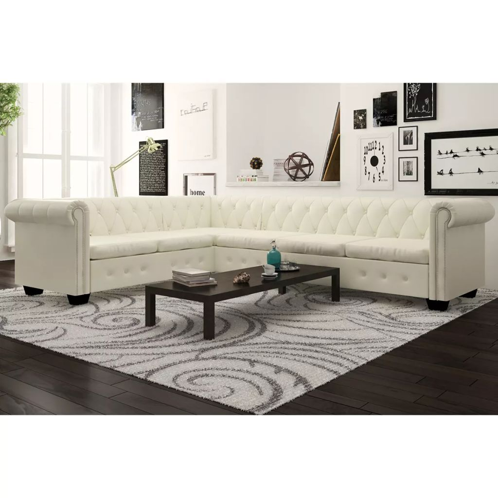 Chesterfield Corner Sofa 6-Seater Artificial Leather White