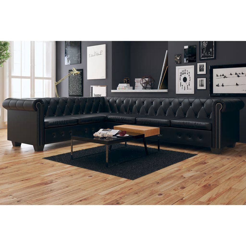 Chesterfield Corner Sofa 6-Seater Artificial Leather Black 1