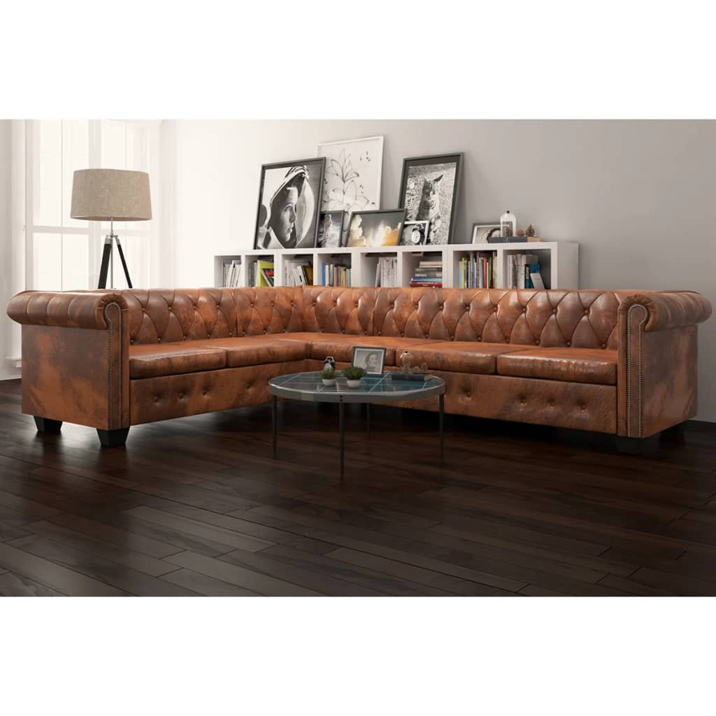 Chesterfield Corner Sofa 6-Seater Artificial Leather Brown 1