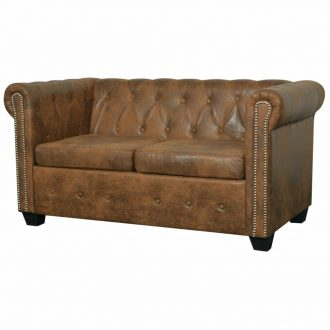 Chesterfield Sofa 2-Seater Artificial Leather Brown 1