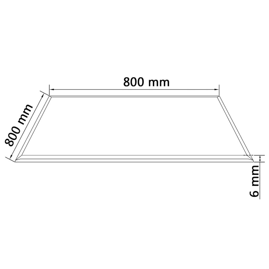 Table Top Tempered Glass Square 800×800 mm 4