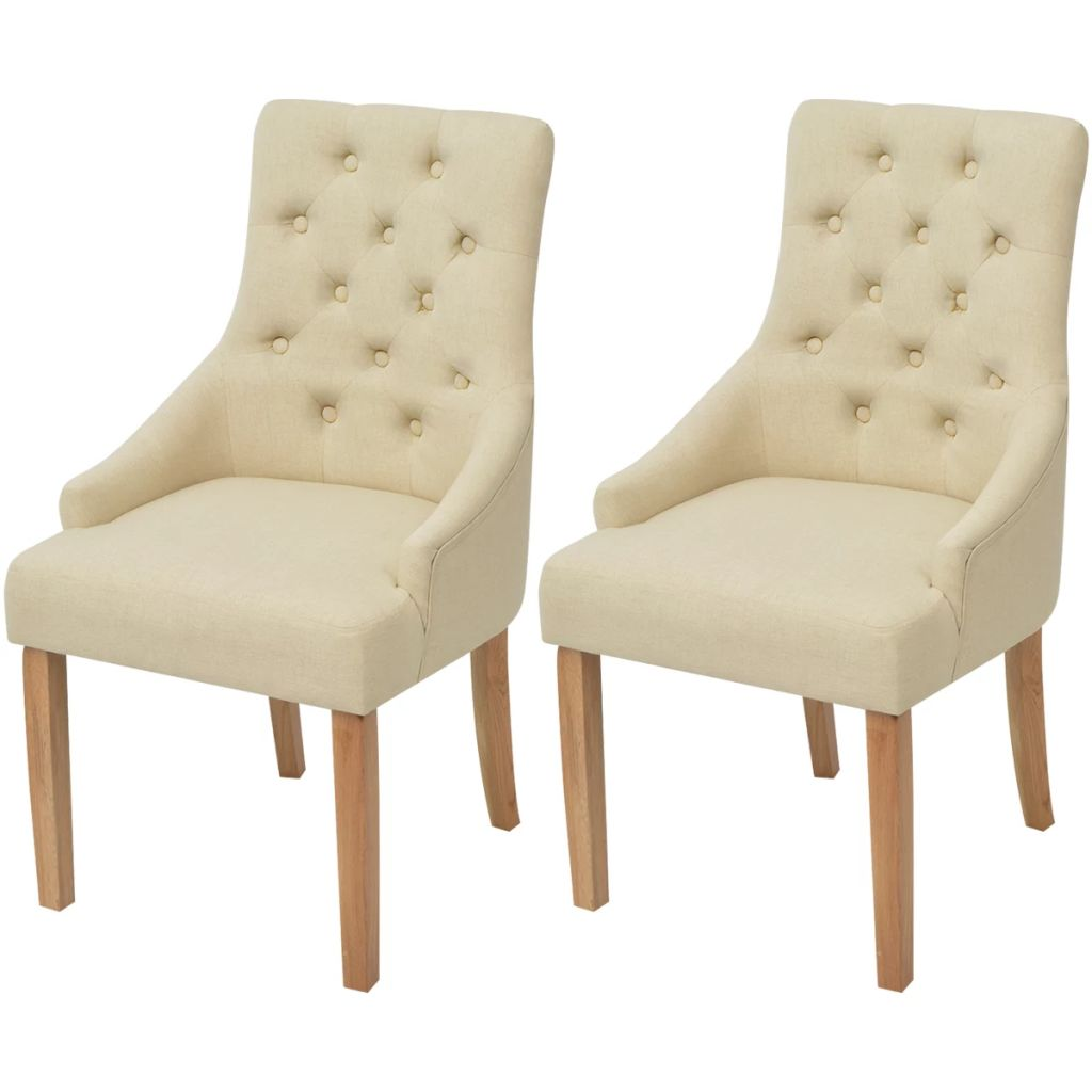 Dining Chairs 2 pcs Cream Fabric 1