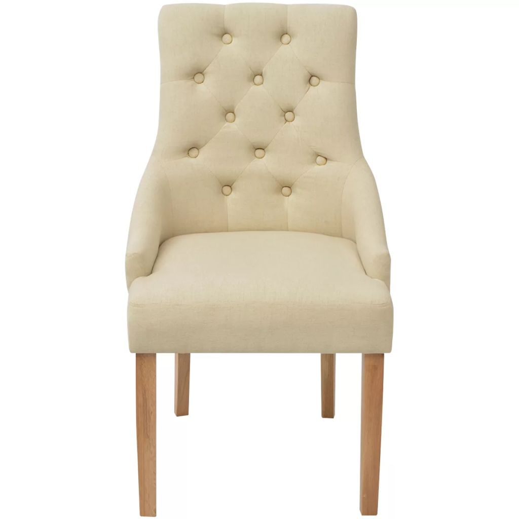 Dining Chairs 2 pcs Cream Fabric 4