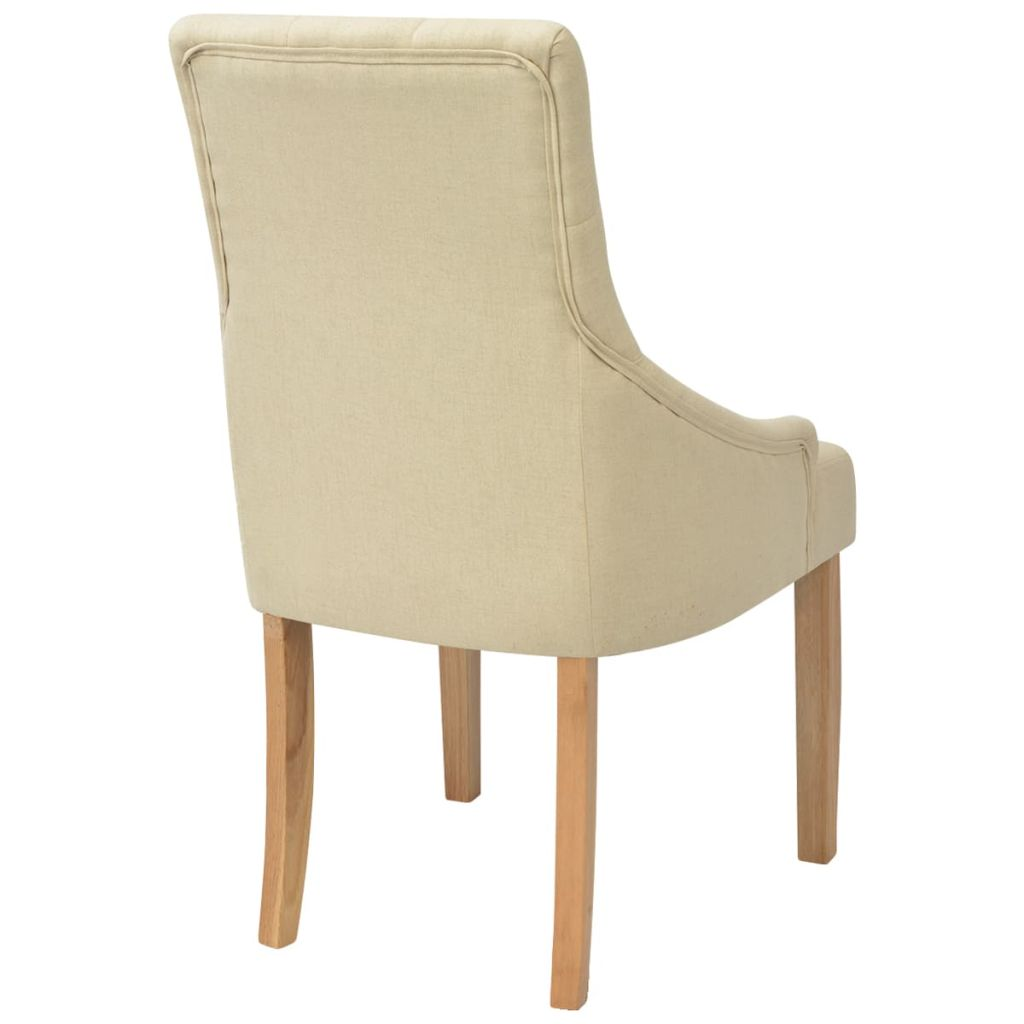 Dining Chairs 2 pcs Cream Fabric 5