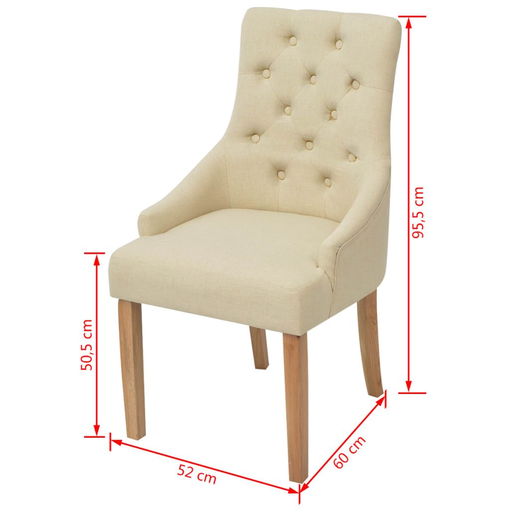 Dining Chairs 2 pcs Cream Fabric 6