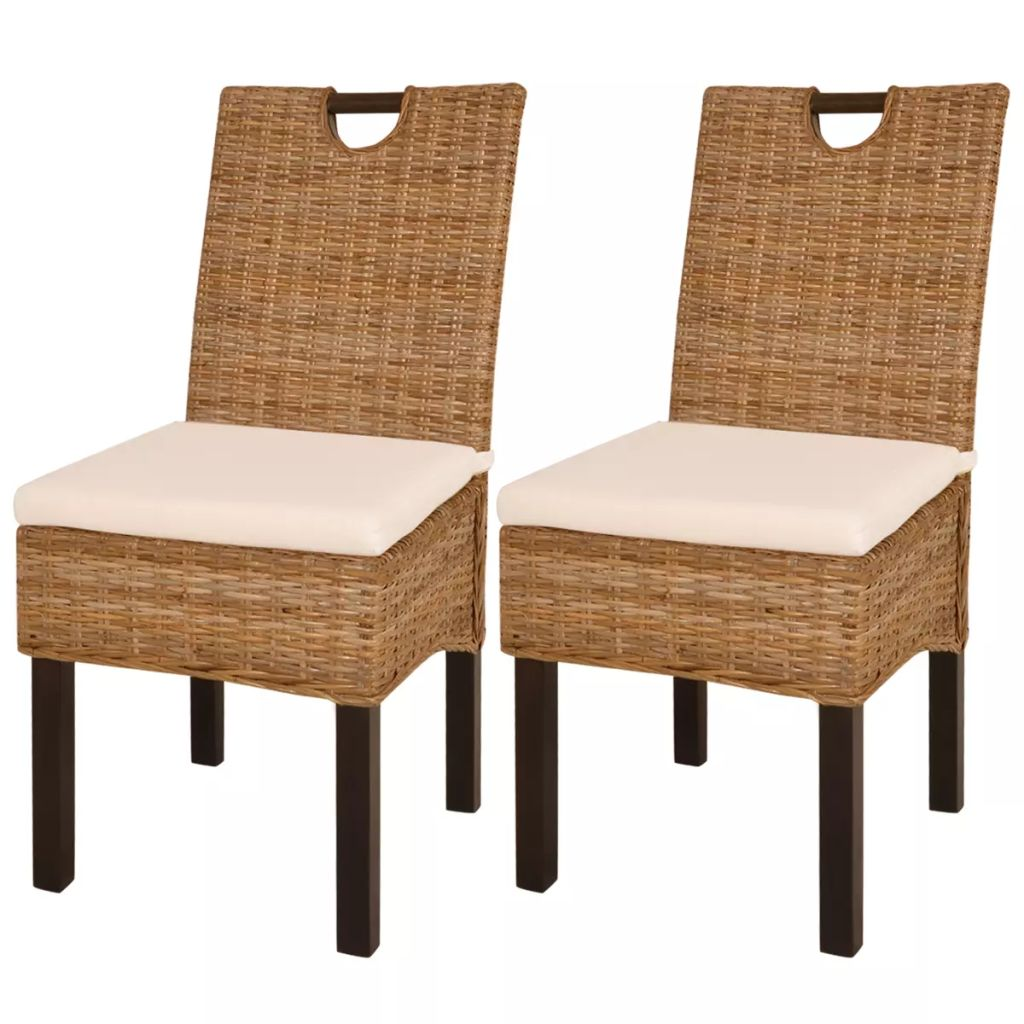 Dining Chair 2 pcs Kubu Rattan Mango Wood