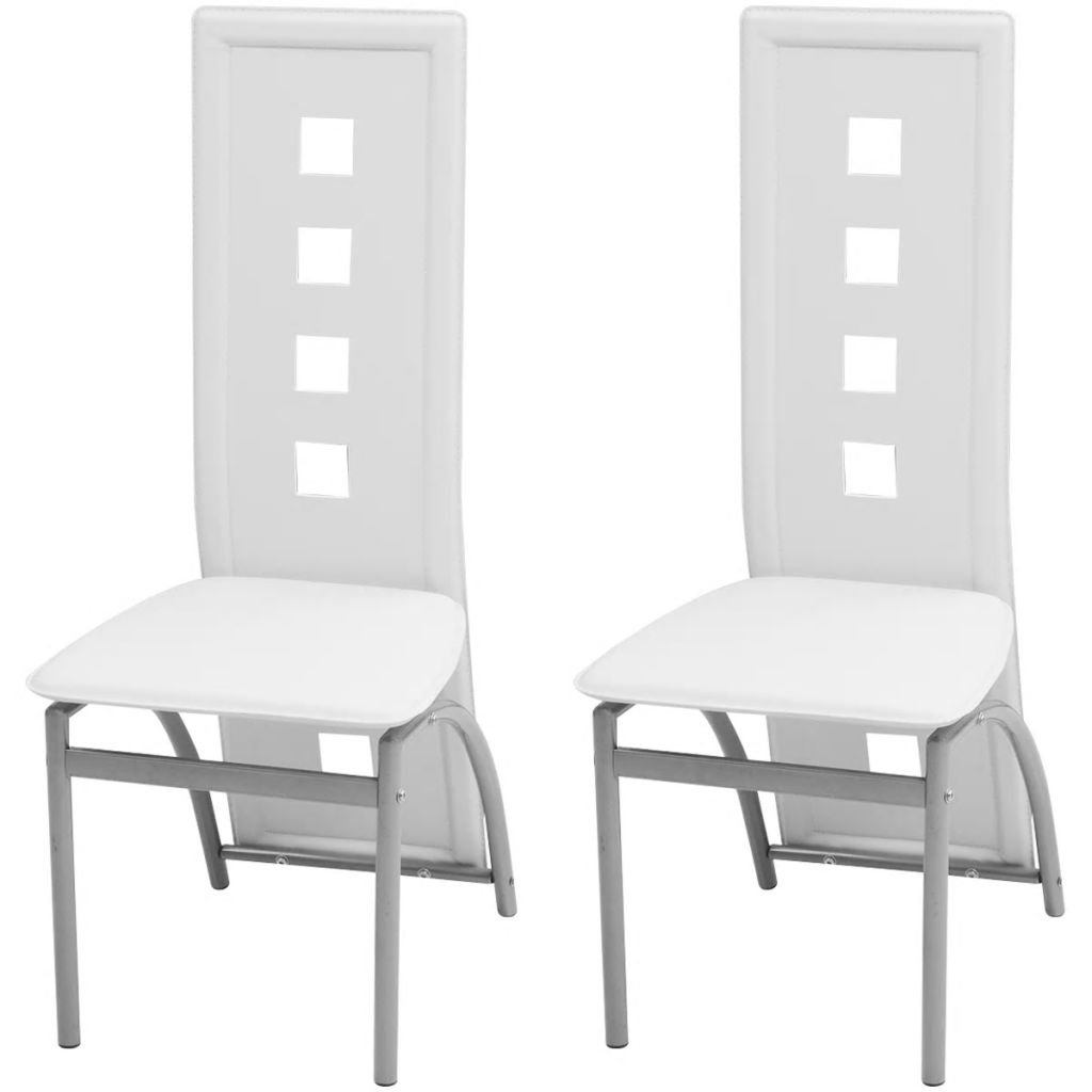 Dining Chairs 2 pcs White Faux Leather
