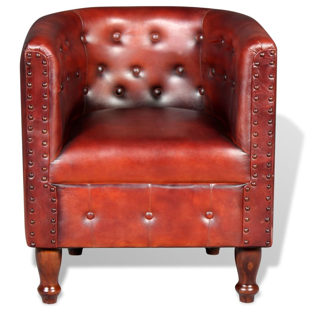 Tub Chair Brown Real Leather 2