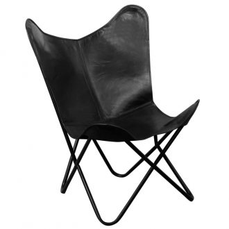 Butterfly Chair Black Real Leather 1