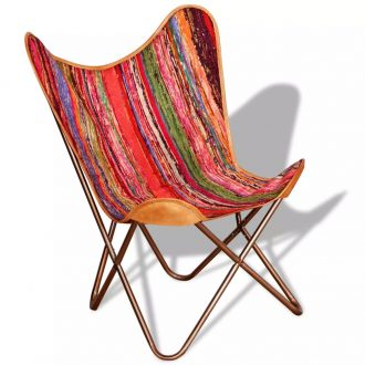 Butterfly Chair Multicolour Chindi Fabric 1