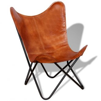 Butterfly Chair Brown Real Leather 1
