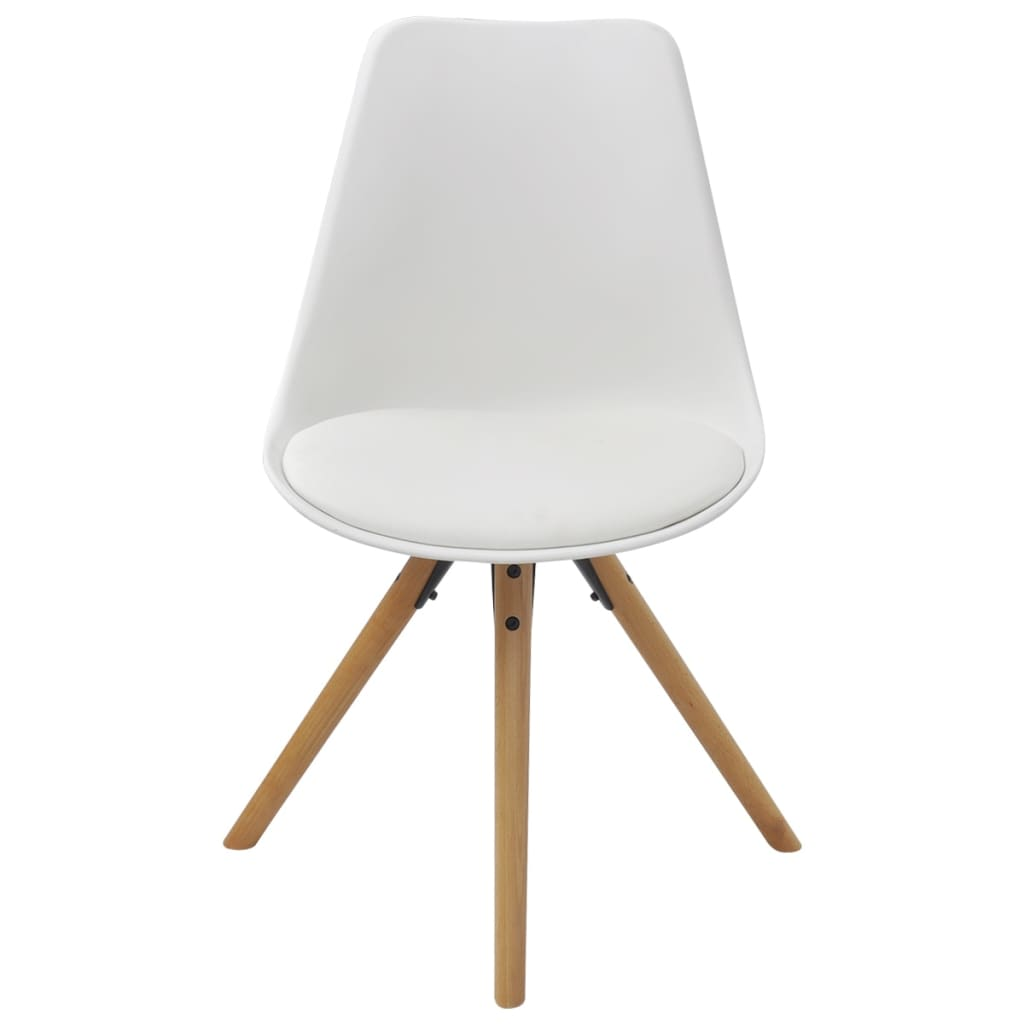 Dining Chairs 4 pcs White Faux Leather 3
