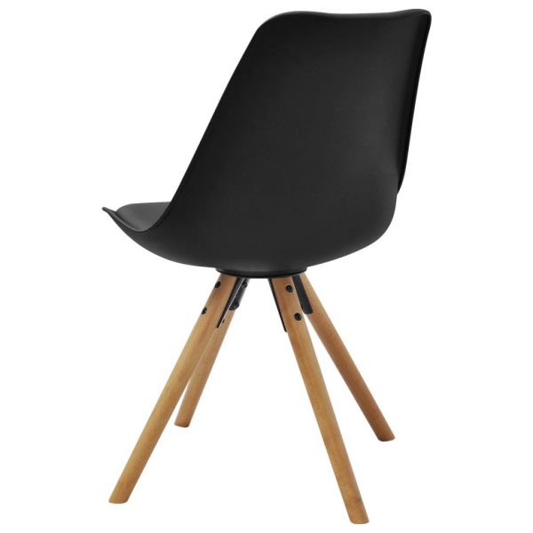 Dining Chairs 4 pcs Black Faux Leather 5
