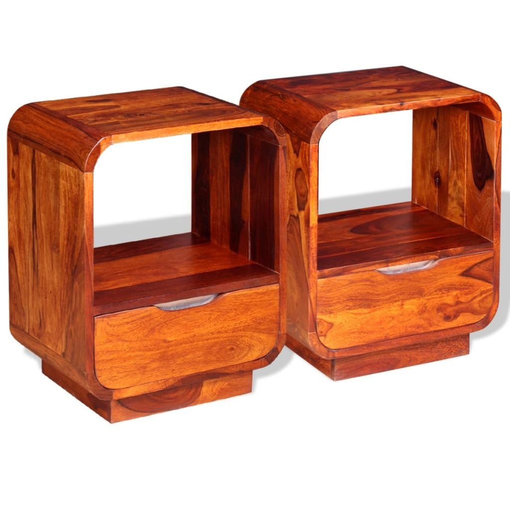 Nightstand with Drawer 2 pcs Solid Sheesham Wood 40x30x50 cm
