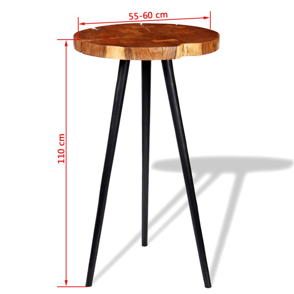 Log Bar Table Solid Acacia Wood (55-60)x110 cm 8