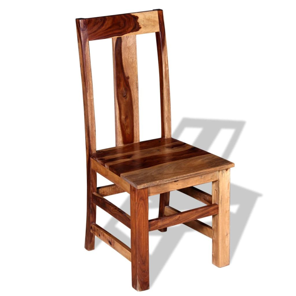 Dining Chairs 2 pcs Solid Sheesham Wood 4