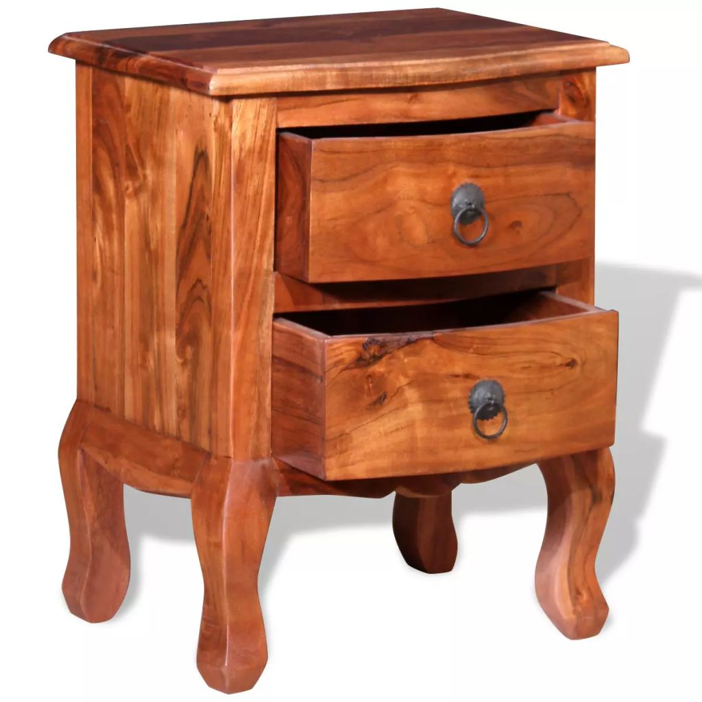 Nightstands with Drawers 2 pcs Solid Acacia Wood 7
