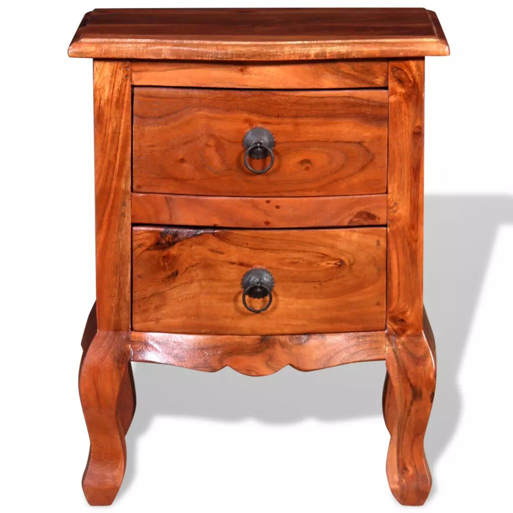 Nightstands with Drawers 2 pcs Solid Acacia Wood 8