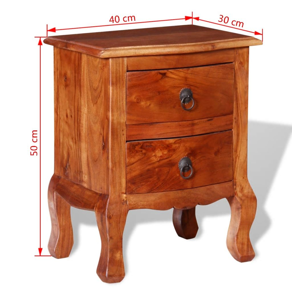 Nightstands with Drawers 2 pcs Solid Acacia Wood 10