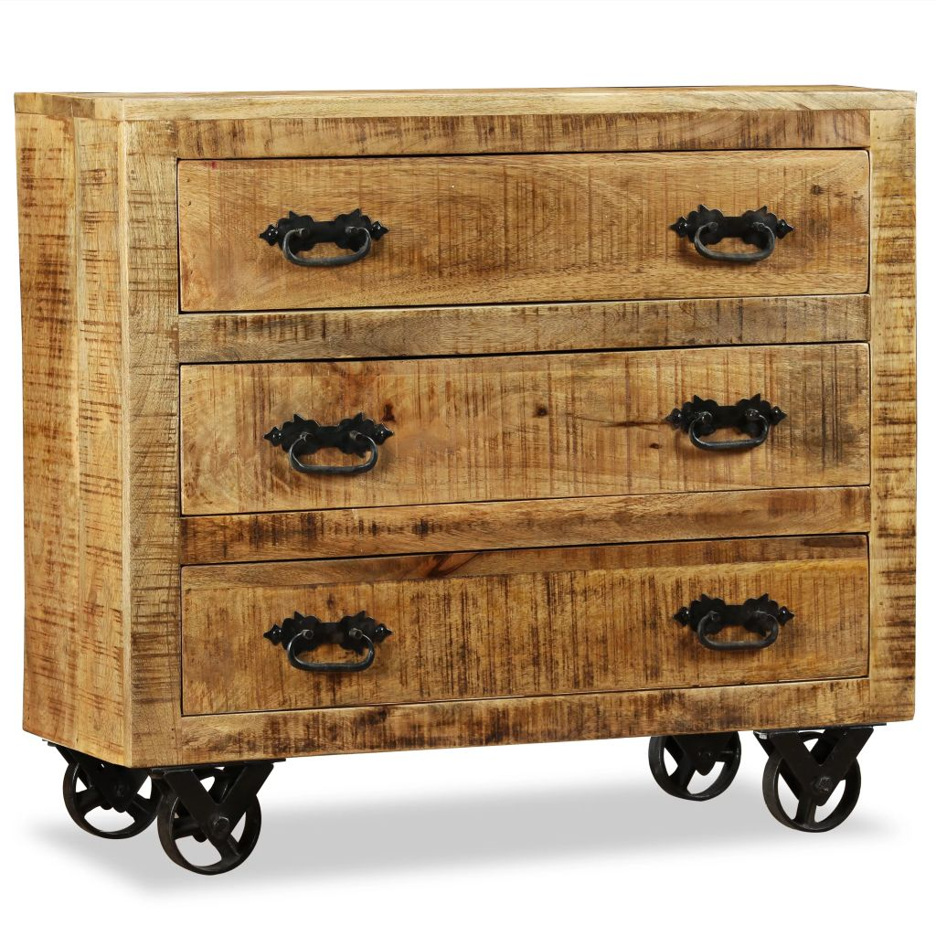 Sideboard with 3 Drawers Rough Mango Wood 1