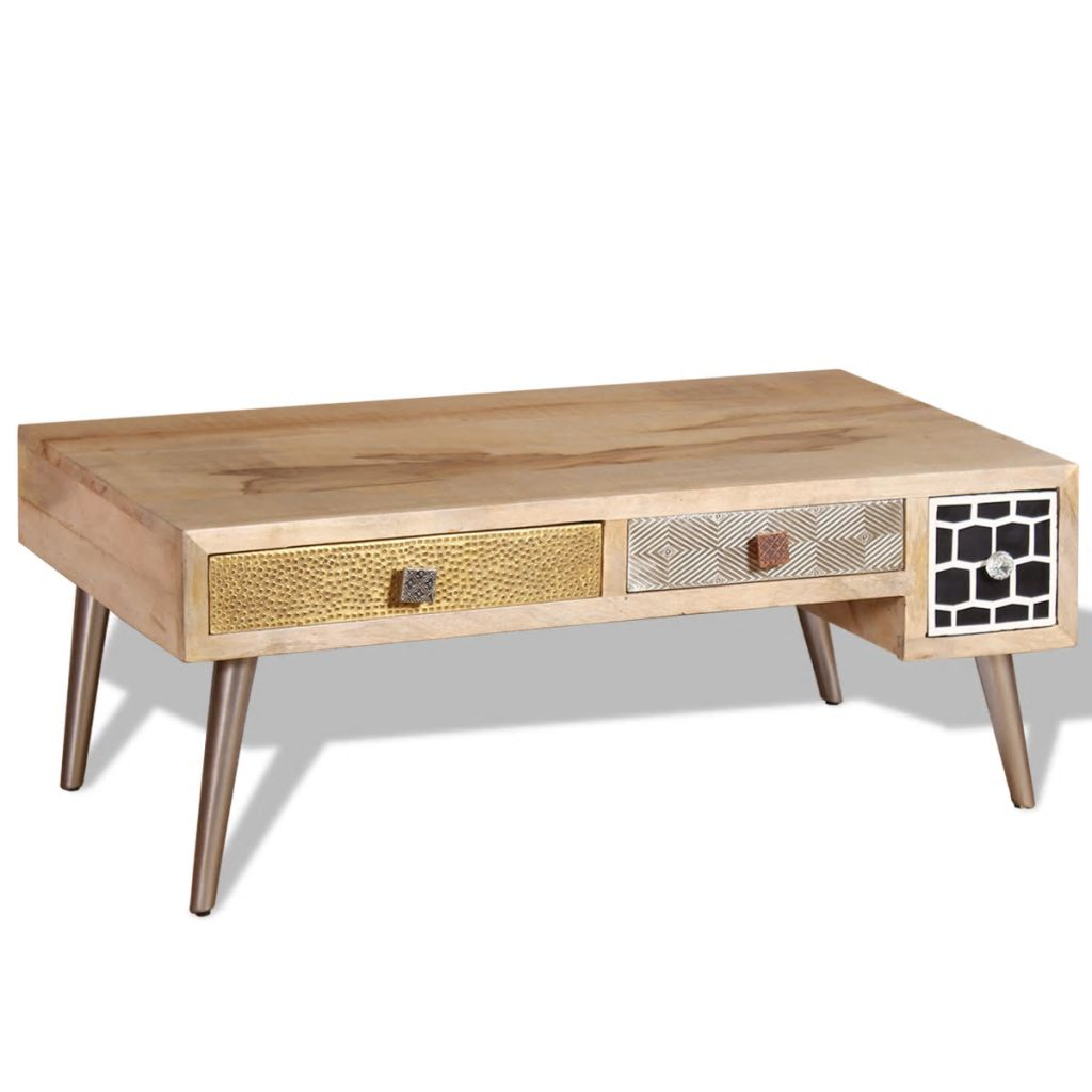 Coffee Table with Drawers Solid Mango Wood 105x55x41 cm