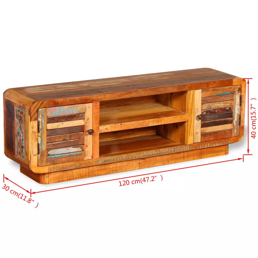 TV Cabinet Solid Reclaimed Wood 120x30x40 cm 9