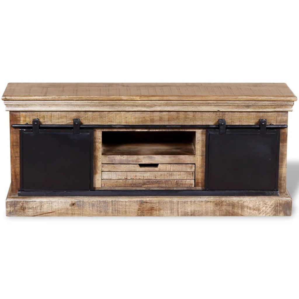 TV Cabinet with 2 Sliding Doors Solid Mango Wood 110x30x45 cm 8