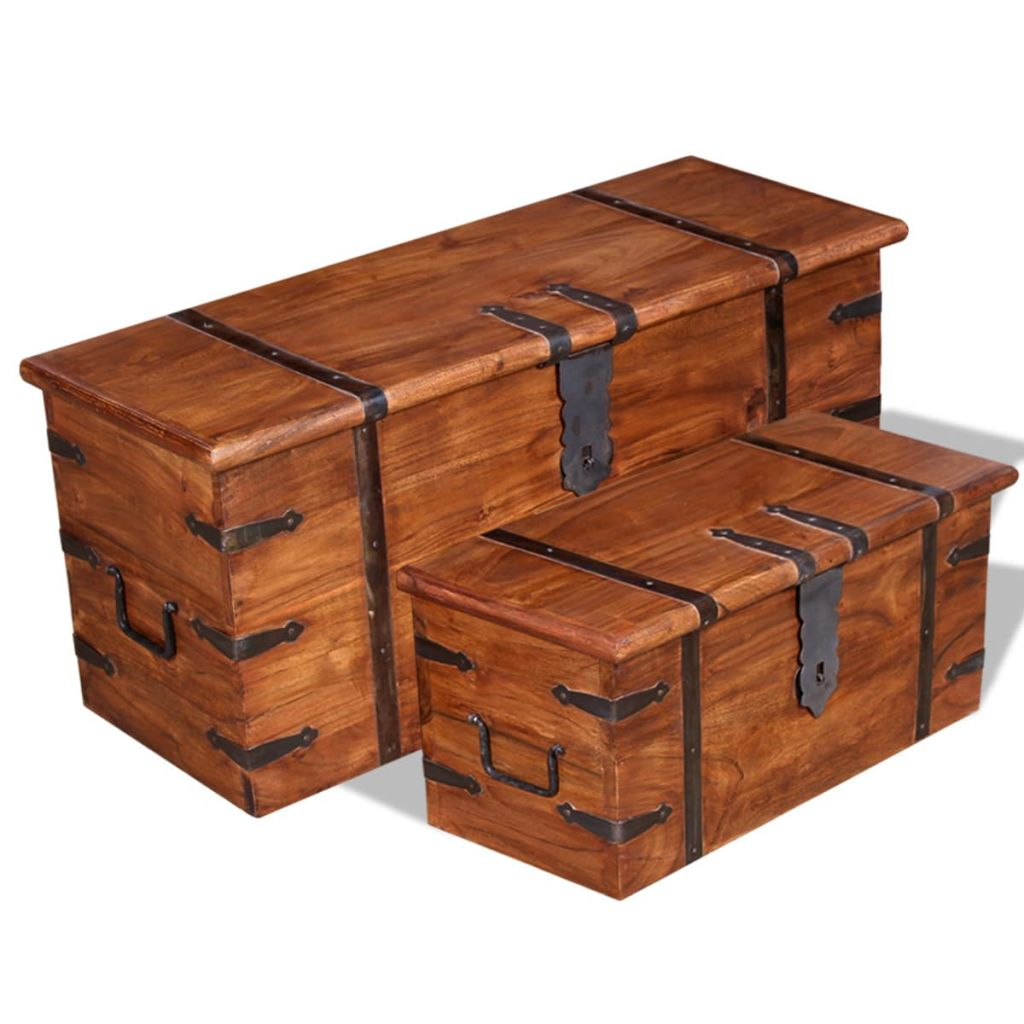 2 Piece Storage Chest Set Solid Wood 1