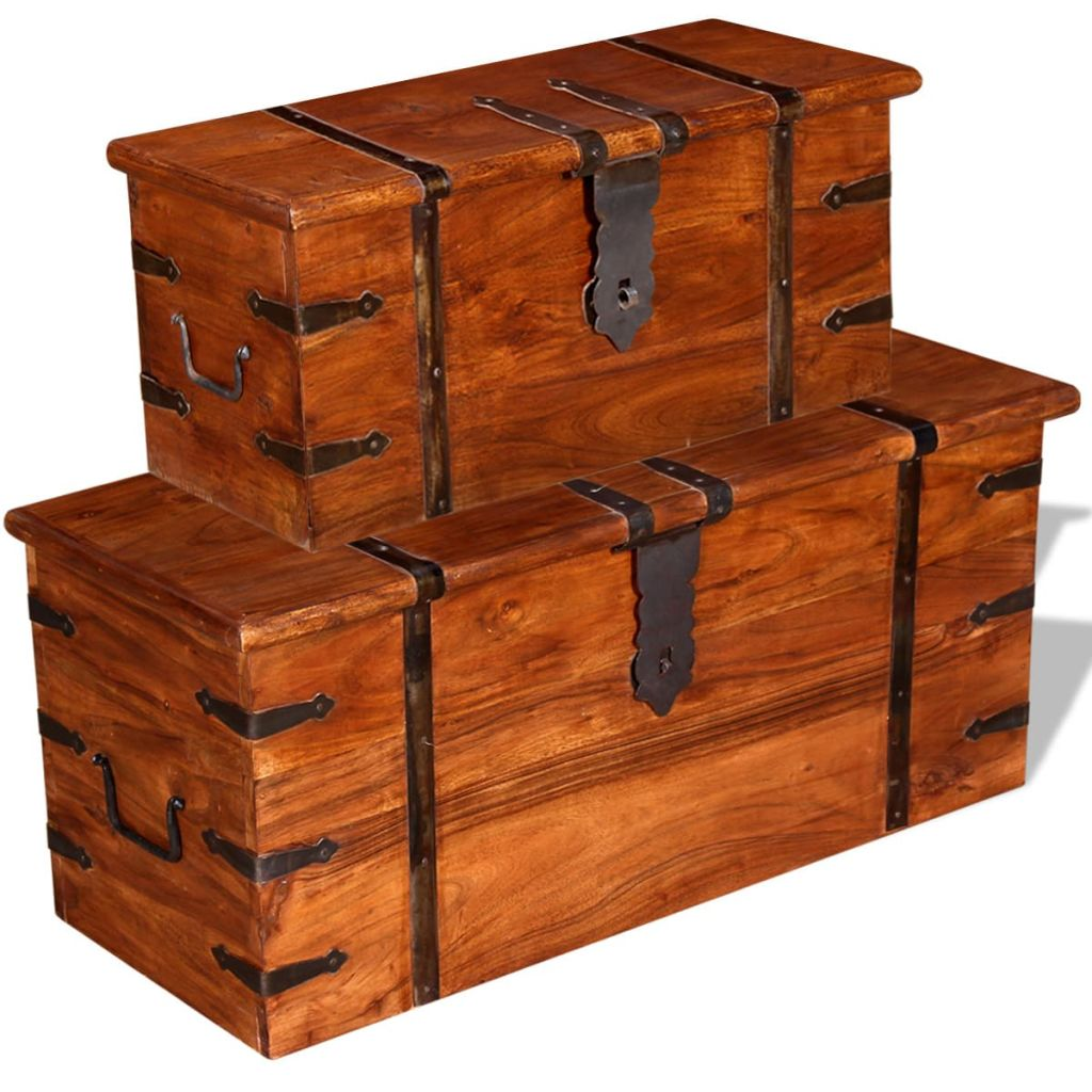 2 Piece Storage Chest Set Solid Wood 2