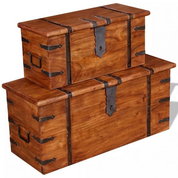 2 Piece Storage Chest Set Solid Wood 3